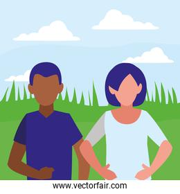 young interracial couple isolated