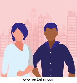 young interracial couple and cityscape scene