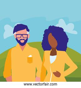 interracial couple with landscape nature