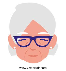 cute grandmother head avatar character