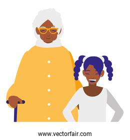 black grandmother with granddaughter