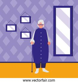 cute grandmother with cane