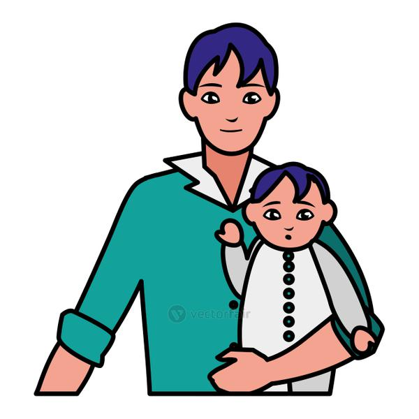 father with baby son characters