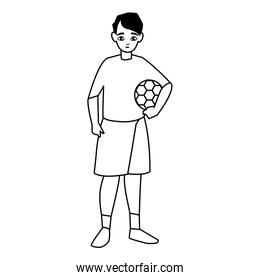 little boy with balloon soccer character