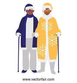 cute grandparents couple with winter clothes