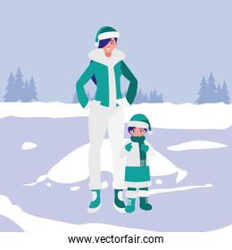 cute mother and daughter with winter clothes