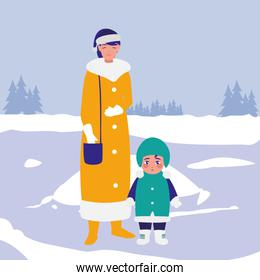 cute mother and son with winter clothes