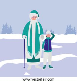 cute grandmother and grandson with winter clothes