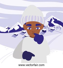 cute little black boy with winter clothes