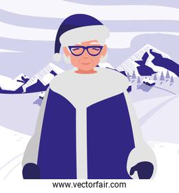cute grandmother with winter clothes