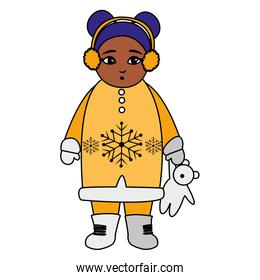 little black girl with winter clothes