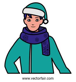 young man with winter clothes