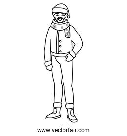 young man with beard and winter clothes