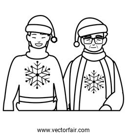 cute grandmother and son with winter clothes