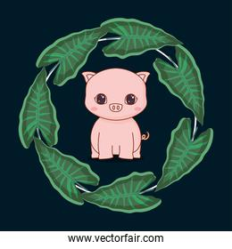 cute pig with leafs