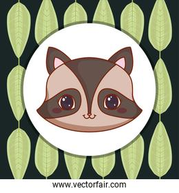 cute raccoon with leafs