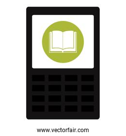 tablet with app ebook over white