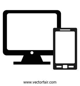 smartphone with computer devices, isolated icon