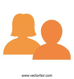 couple users avatars silhouette