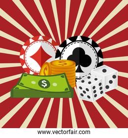 casino chips with money icons