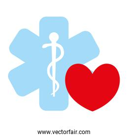 heart cardio with medical symbol