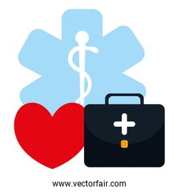 medical kit with heart cardio