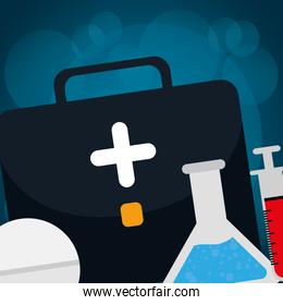 medical kit with medicine pill