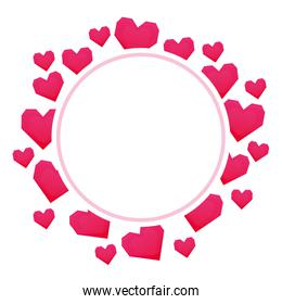 circular frame with hearts love valentines card