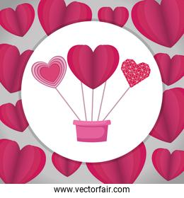pot with hearts love