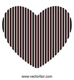 heart love with stripes valentines card