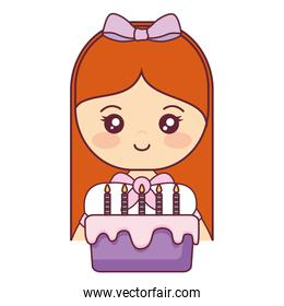 cute and little girl with sweet cake