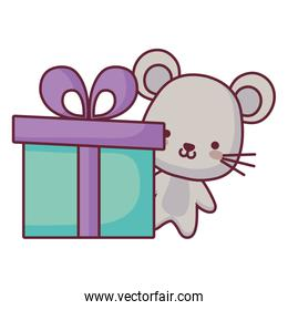 cute and little mouse with gift
