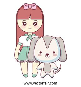 cute and little dog with girl
