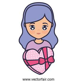 cute and little girl with heart gift