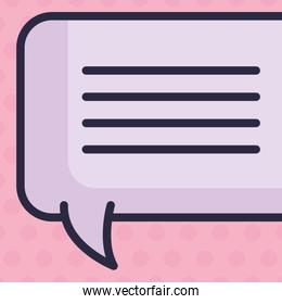 design of purple  text bubble over pink