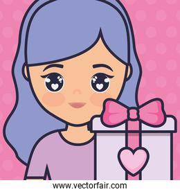 cute and little girl with gift