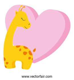 cute and little giraffe with heart character
