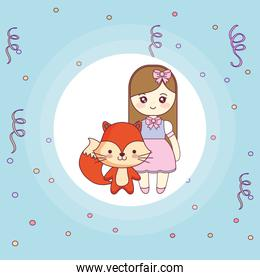 cute and little fox with girl