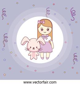 cute and little rabbit with girl