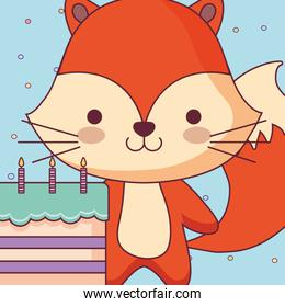 cute and little fox with sweet cake