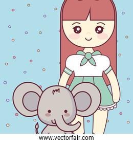 cute and little elephant with girl