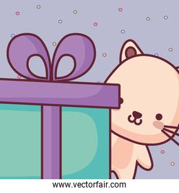 cute and little cat with gift