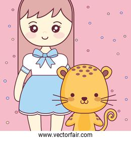 cute and little tiger with girl