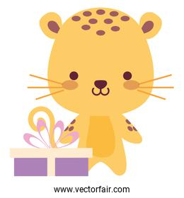 cute and little tiger with gift