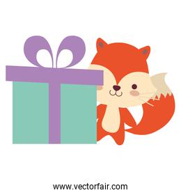 cute and little fox with gift