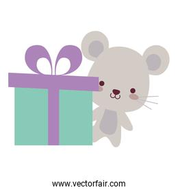 cute and little mouse with gift box