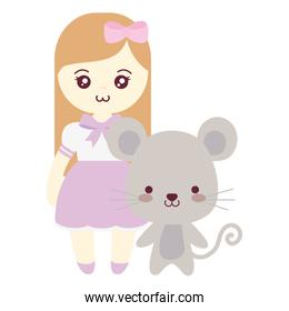 cute and little mouse with girl