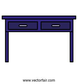 table with drawers wooden purple house forniture