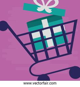 supermarket shopping cart with gift