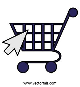 supermarket shopping cart with mouse arrow